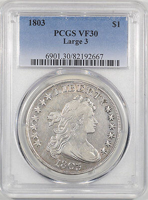 1803 Draped Bust Dollar - Large 3 Pcgs Vf-30. The Reeded Edge!