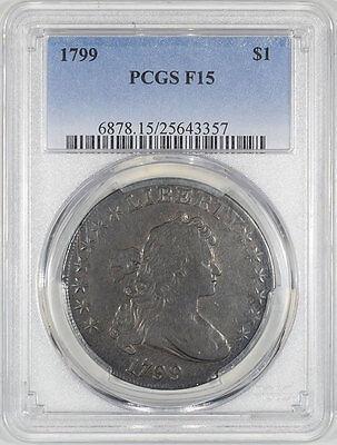 1799 Draped Bust Dollar Pcgs F-15. The Reeded Edge!