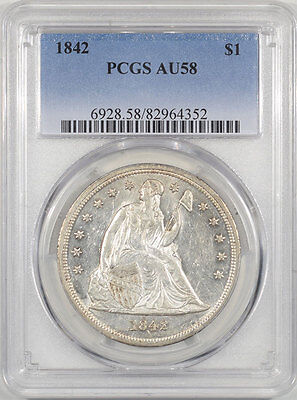 1842 Liberty Seated Dollar Pcgs Au-58. The Reeded Edge!