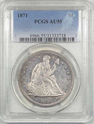 1871 Liberty Seated Dollar Pcgs Au-55. Another Coin From The Reeded Edge!