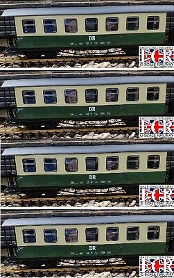 4 yes FOUR G SCALE 45mm GAUGE DR RAILWAY PASSENGER GREEN & CREAM CARRIAGE