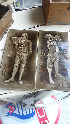 Pair Of Vintage Dickens Tiles - Makers Marks To Back