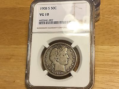 1908 S Barber Half DOLLAR NGC VG10 FREE SHIPPING!!! GREAT COIN!!!