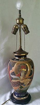 Early Japanese Heavy  Moriage &Gold Satsuma Lamp w/Original Final Antique