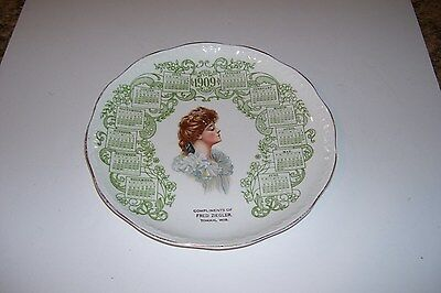 1909 CALENDAR PLATE w/ADV.-COMPLIMENTS OF FRED ZIEGLER-TOMAH,WIS.