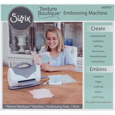 Sizzix Texture Boutique Embossing Machine-Gray & White