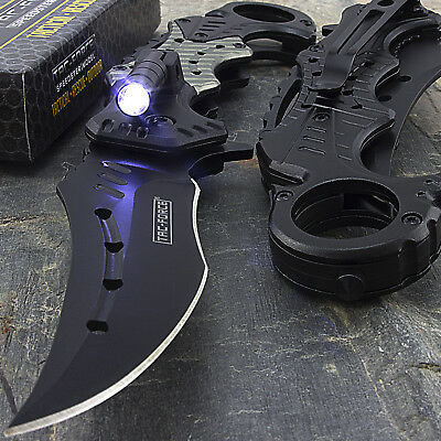 "8.5"" TAC FORCE 2-TONE SPRING ASSISTED FOLDING POCKET KNIFE w/ LED FLASHLIGHT"