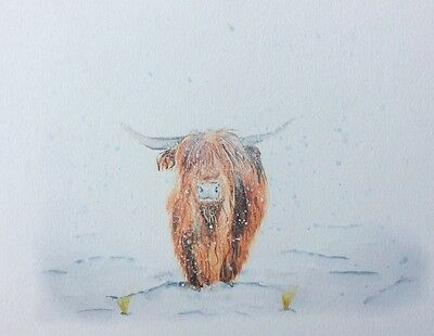 Limited signed print of my original painting A4 highland cow snow