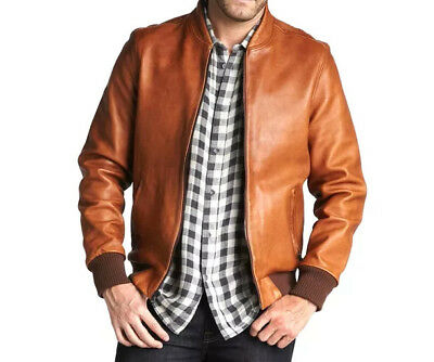 Men's Genuine Lambskin Leather Motorcycle Slim fit Jacket Bomber Biker Jacket 01