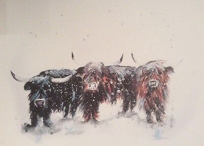Limited signed print of my original painting A4 highland cows cattle snow