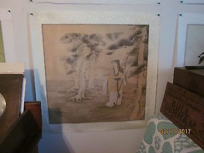 Vintage Chinese Water-color on Rice Paper, matted on silk, artist signed [21]