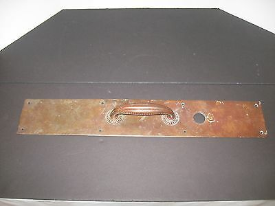 Vintage large copper door handle pull plate architectural door hardware, 24 inch