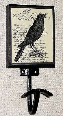 NEW~Black Crow / Raven Theme Wall Hook Wrought Iron & Wood HandCrafted Halloween