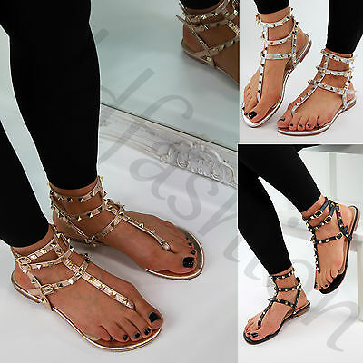 New Womens Flat Sandals Ankle Strap Toe Post Studded Gladiator Summer Shoes