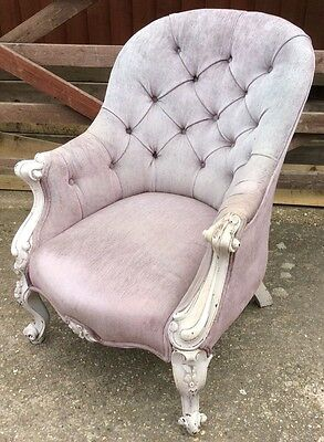 Antique French Carved - Painted - Button Back Velvet Armchair!!