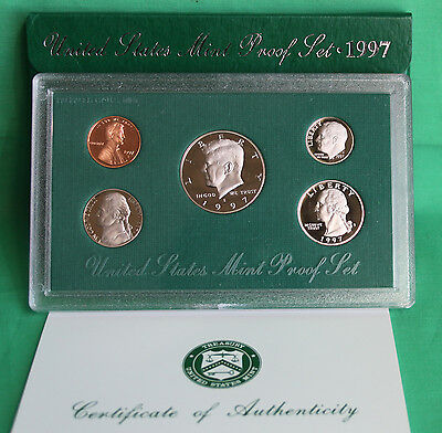 1997 United States Mint ANNUAL 5 Coin Proof Set Original Box and COA
