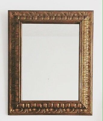 Antique Victorian Chunky Gold Gilt Carved Wood Cushion Frame Mirror