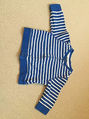 Baby Gap Boy Girl Zip Cardigan Jumper Blue White Stripe 6-12 Months