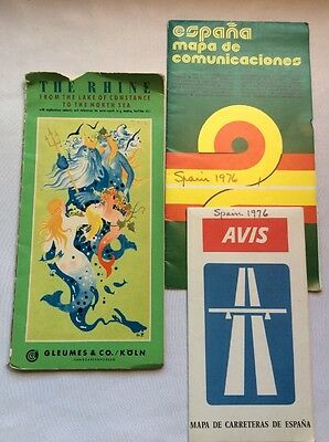 3 Vintage Road Maps Europe: Spain & The Rhine River~1970s (L9)