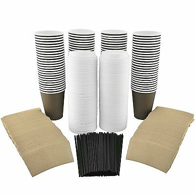100 Pack - 12 Oz Disposable Hot Paper Coffee Cups, Lids, Sleeves, Stirring To Go