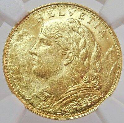 1922 B Gold Switzerland 10 Francs Helvetia Coin Ngc Mint State 64