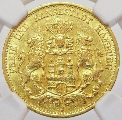 1893 J Gold German State Hamburg 20 Mark Coin Ngc Mint State 62