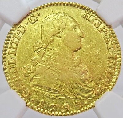 1799 M Mf Gold Spain 2 Escudos Charles Iv Coin - Madrid Mint - Ngc About Unc 53