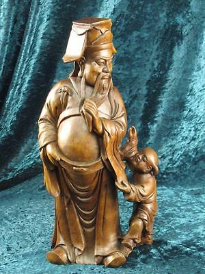 Beautiful Vintage Chinese Hand Carved Wood Statue Of Fu, God Of Prosperity