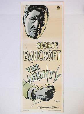 Original 1929 HOLLYWOOD insert MOVIE POSTER film GEORGE BANCROFT in THE MIGHTY
