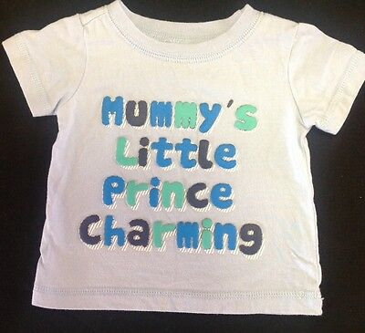 Baby Boy Size 000 Prince Charming Short Sleeve T- Shirt Top Blue ��