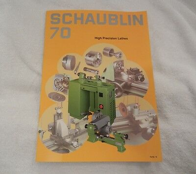 Schaublin 70 Lathe Brochure Catalog Booklet  Used, rare Glossy color booklet