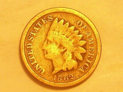 ** 1862Cn Indian Head Cent  Scarce Old Coin **