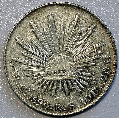 1894 Go RS Mexico 8 Reales Silver Coin Cap & Rays (LV#625)