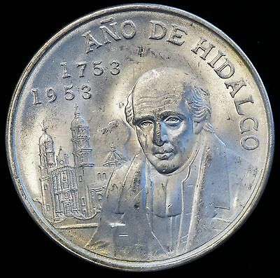 1953 Mexico 5 Peso Hidalgo Silver Coin NEVER CLEANED FROSTY CHOICE BU (LV#624)