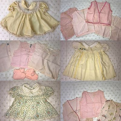 LOT Antique Vtg Infant Girl Yellow Dresses Baby Doll Clothing Pink Tops Shirts