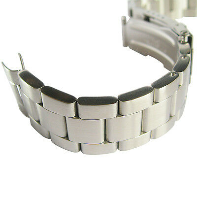 22mm Hadley-Roma MB4426 Oyster Stainless Steel Curved End Watch Band Bracelet