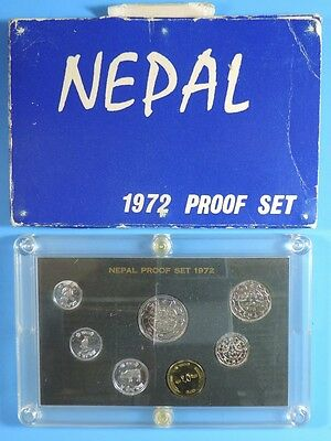 1972 Nepal 7 Coin Proof Set 1 2 5 10 25 50 Paise 1 Rupee