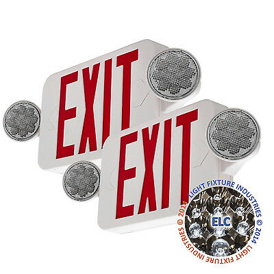 2Pack LED Exit Sign Emergency Light – Hi Output RED Compact Combo UL COMBORJR2