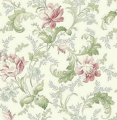 Dollhouse Miniature Wallpaper Shabby Chic Pink Green Floral 1:12 One Inch Scale