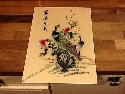 chinese embroidered silk panel on card