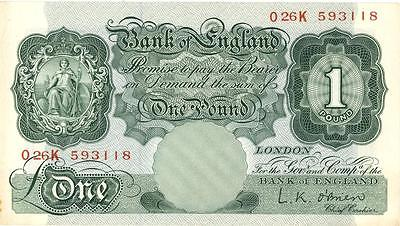 Great Britain 1 Pound Currency Banknote 1955 AU/UNC
