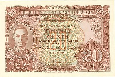 Malaya 20 Cents Currency Banknote 1941 AU/UNC