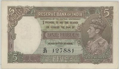 India 5 Rupees Currency Banknote 1937  AU - PMG-50