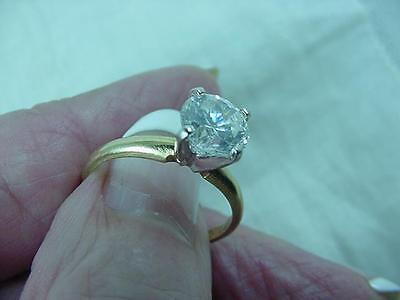 14K Yellow Gold Cubic Zirconia CZ Engagement Style Ring  Size 6     #1681