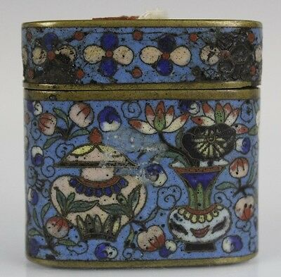 Old Chinese Brass Cloisonne Enamel Floral Trinket Jewelry Box w Red Wax Seal KBC