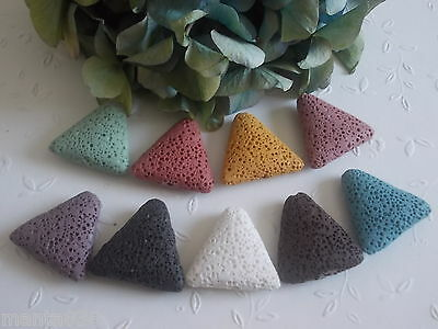 3 Lava Beads - Triangle - for Charm Interchangeable pendant Colour choice 27mm