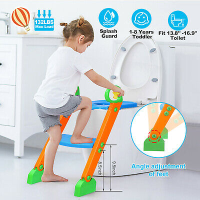 Potty Trainer Toilet Seat Chair Kids Toddler With Ladder Step Up Training Stool