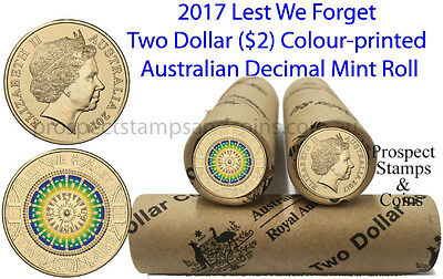 2017 'Lest We Forget' Australian Two dollar ($2) Coloured Coin roll - 25 coins