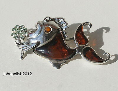 Very Beautiful Baltic Amber Pendant Fish with Silver 925