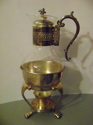 Vintage F B Rogers Silver & Blown Glass Coffee Tea Carafe with Warmer